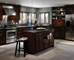 Cherry Cabinets with Light Blue Walls  Kitchen Ideas