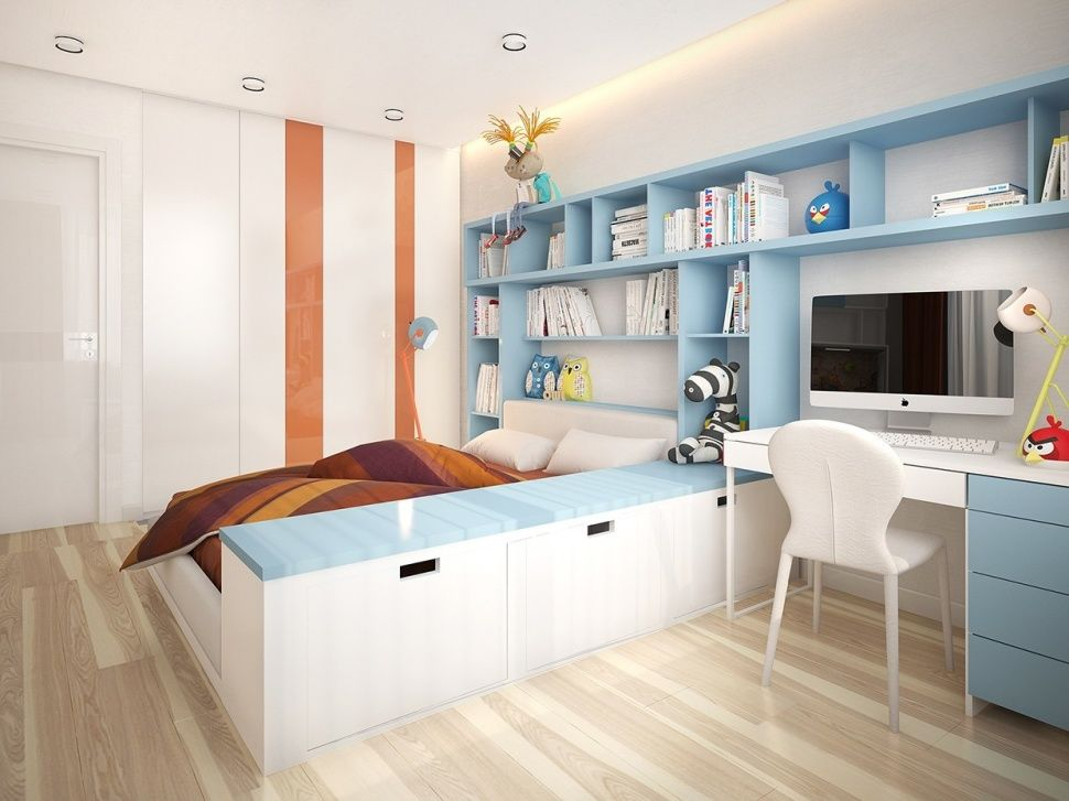 DecorationModern Kids Room With Single Bed Also Blue Shelving Book