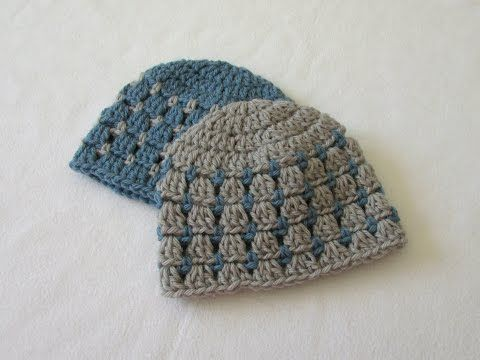 How to crochet a block stitch baby hat / beanie - YouTube | Baby ...