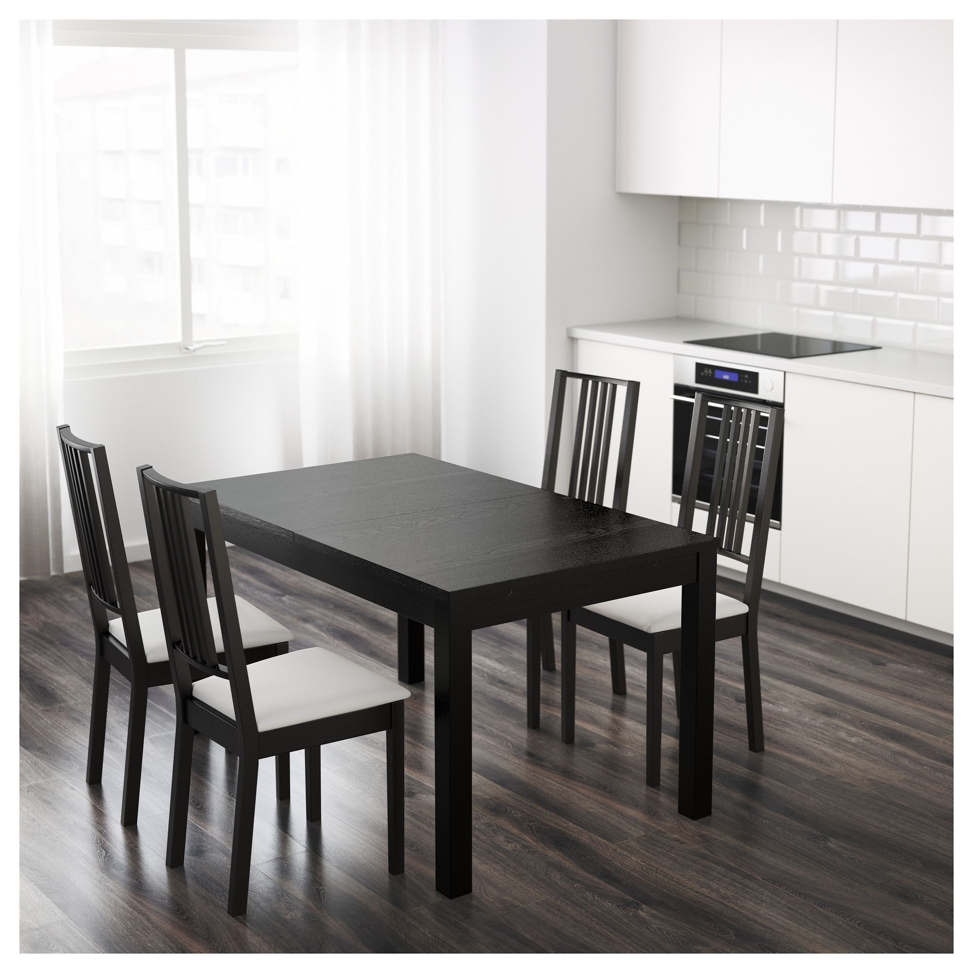 Ikea Bjursta Extendable Table Two Extension Leaves Included Dining With 2 Extra Seats 4 6 Possible To Adjust The Size