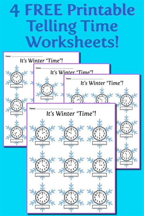 Winter Themed Telling Time Worksheets! (4 FREE Printable Versions - time worksheets