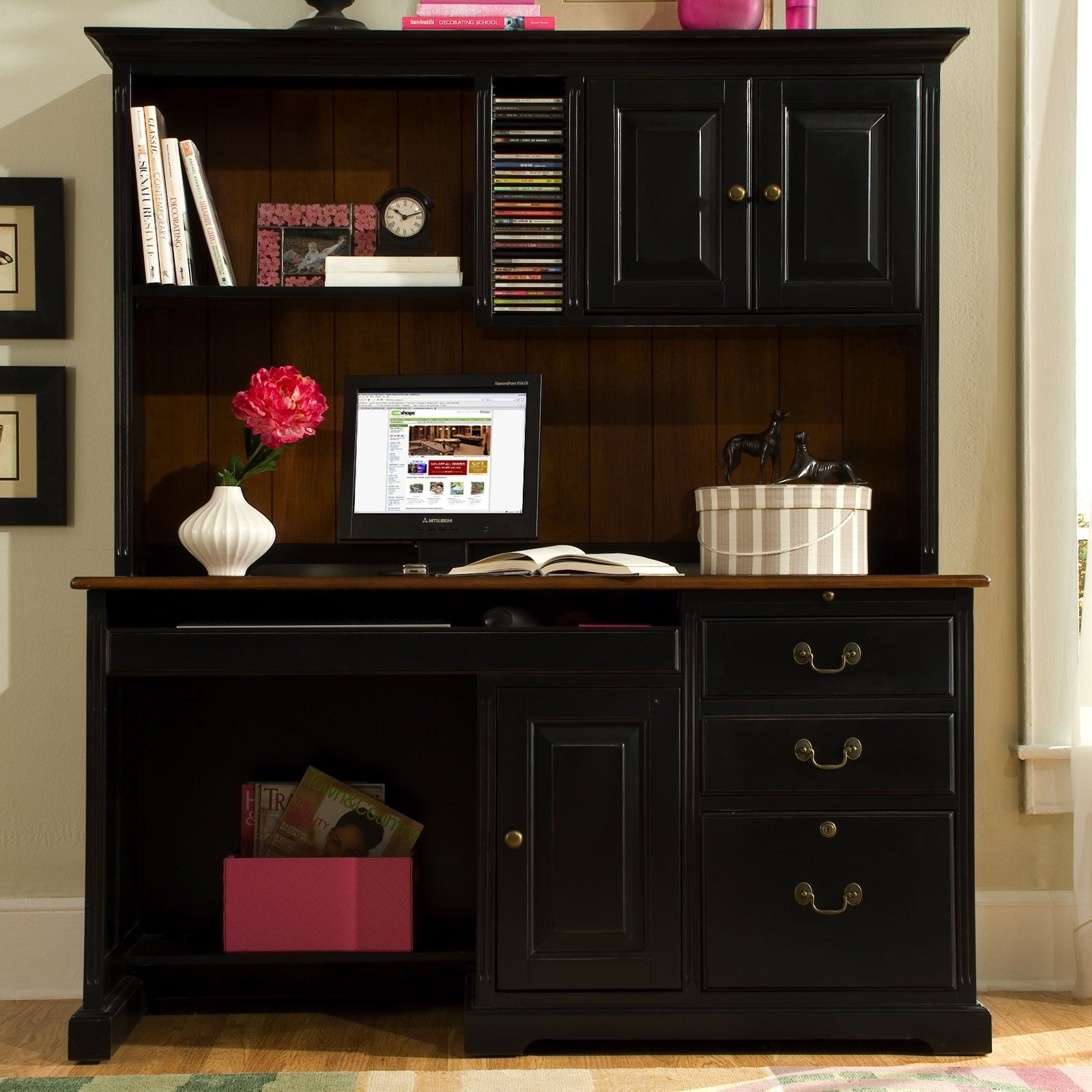 99+ Black Computer Desk Hutch   Executive Home Office Furniture Check More  At Http: