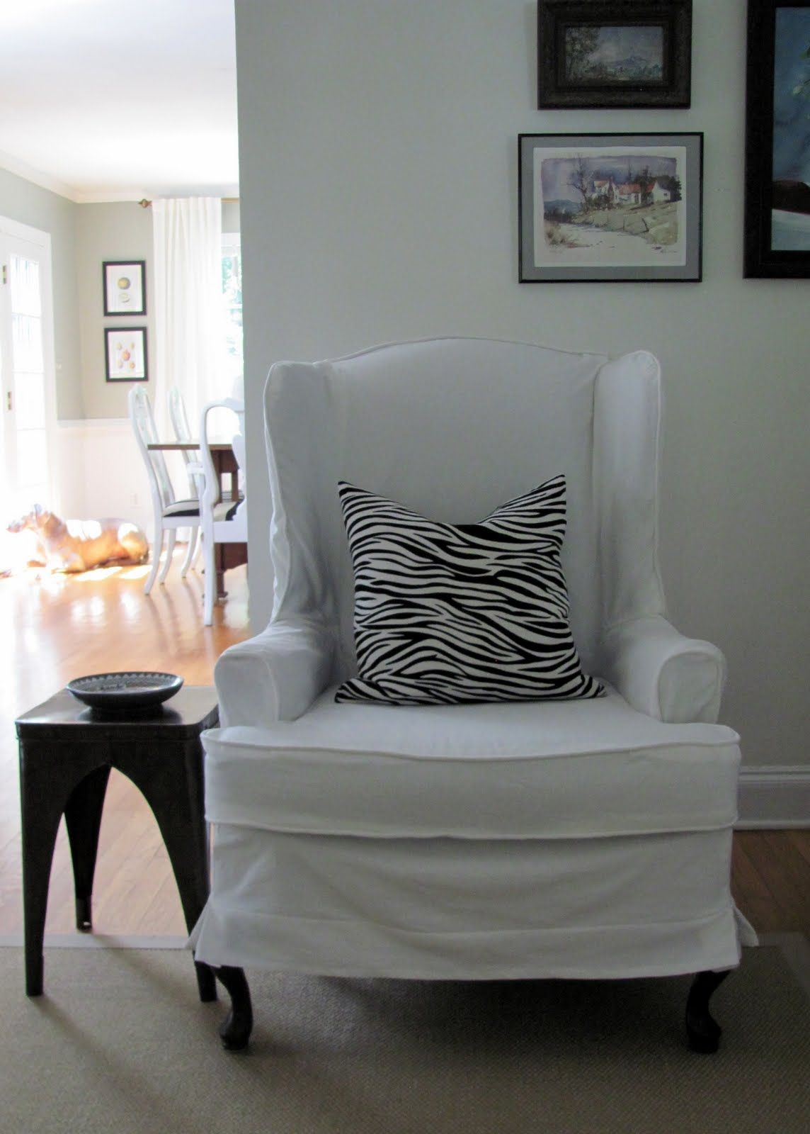 slipcovered wingback chairs, seriously need this