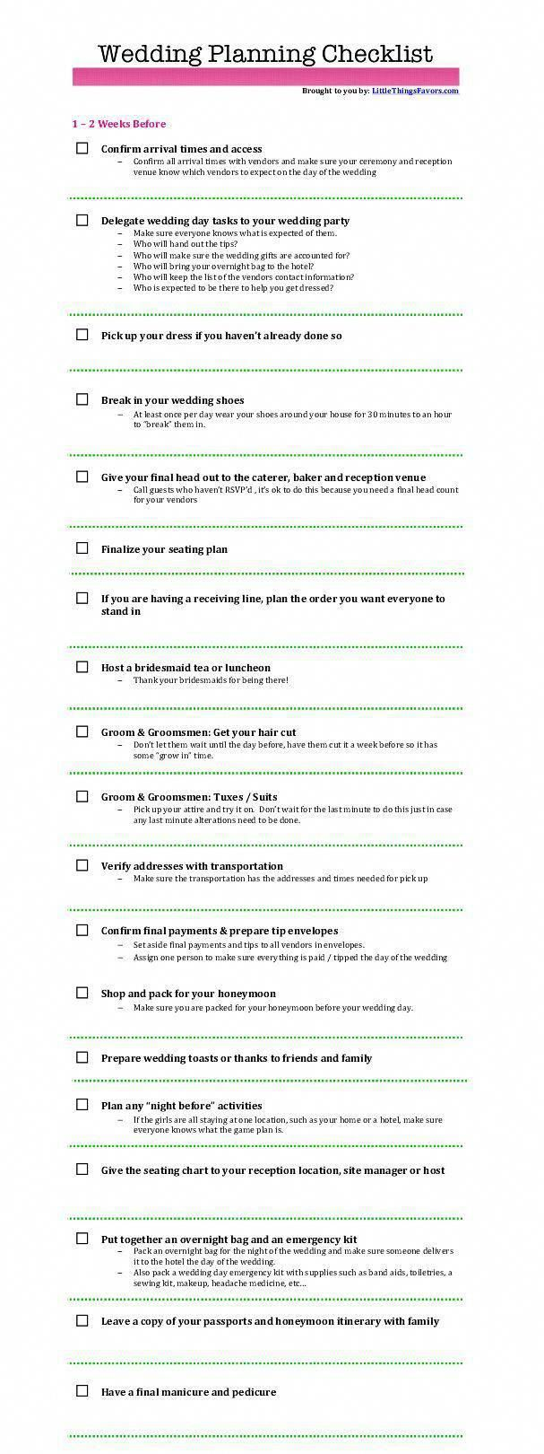 free printable wedding planning checklists for 12