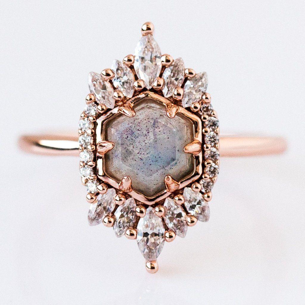 477c1bf3a2e Labradorite Medina Ring in Rose Gold Labradorite Ring, Blue Tones, Natural  Stones, Heart
