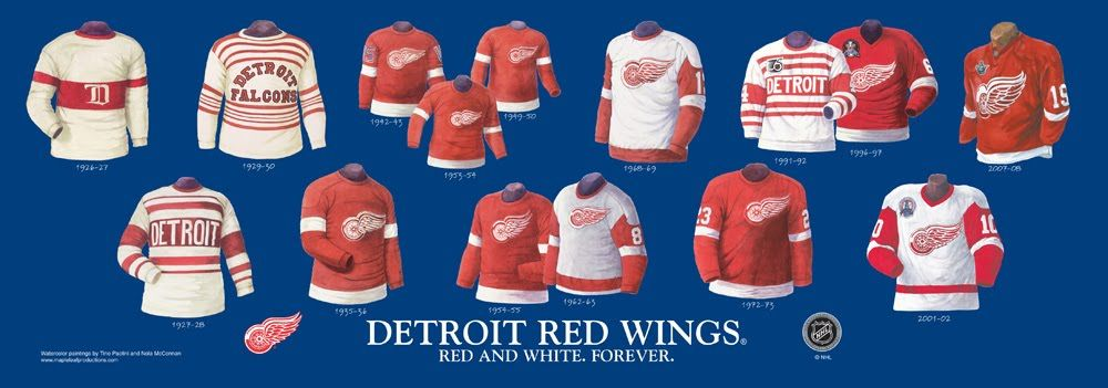 detroit red wings jersey history