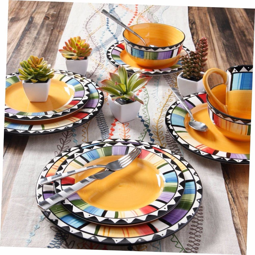 Dinner Set Mexican Style Dinnerware Plates Serving 16pcs Salad Dishes Kitchen Mugs Bowls Enjoy Vibrant Colors With This Bold Home Fandango Gibson 16 Piece