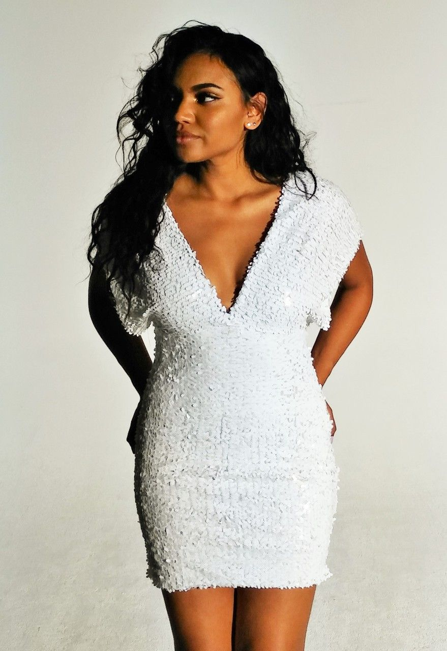 Beautifully White Sequin Deep V Dress | Plus Size Black Sequin ...