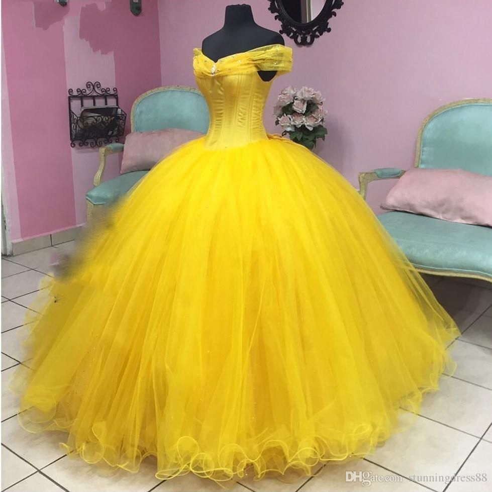 Modern Belle Yellow Quinceanera Prom Dresses Ball Gown Real Photo Cheap Off The Shoulder With Sleeves Tul Sweet 15 Dresses Princess Ball Gowns Sweet 16 Dresses