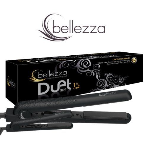 Bellezza Professional Duet Set 1 25 Mini Flat Irons Black Hair Straightener How To Feel Beautiful Hair