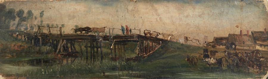 PAUL HUET (1803-1869) Troupeau de vaches passant un pont Carton. Annoté au revers 1821. H_16 cm L_50 cm Sans cadre - Pierre Bergé & associés - 05/11/2014