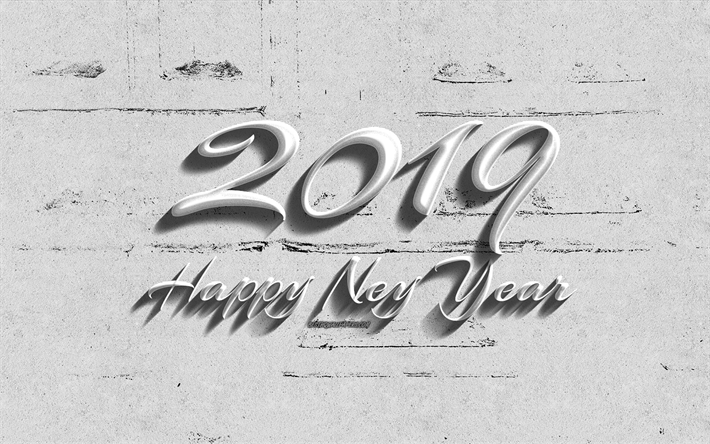 Download wallpapers Happy New Year 2019, white background