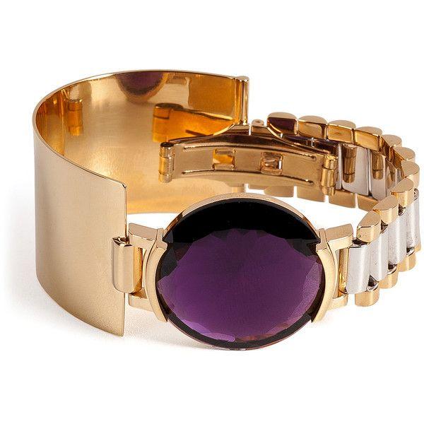 Delfina Delettrez Watch Bangle (€1.180) ❤ liked on Polyvore featuring jewelry, bracelets, nakit, purple, cuff bangle bracelet, bracelet jewelry, clasp bracelet, cuff bracelet y chunky jewelry