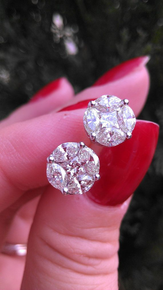 diamond art of total stud weight earrings studs lamevallar deco new carat
