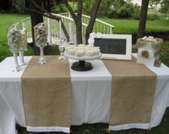 Some Burlap Runners Might Make The Plain White Table Cloths Look
