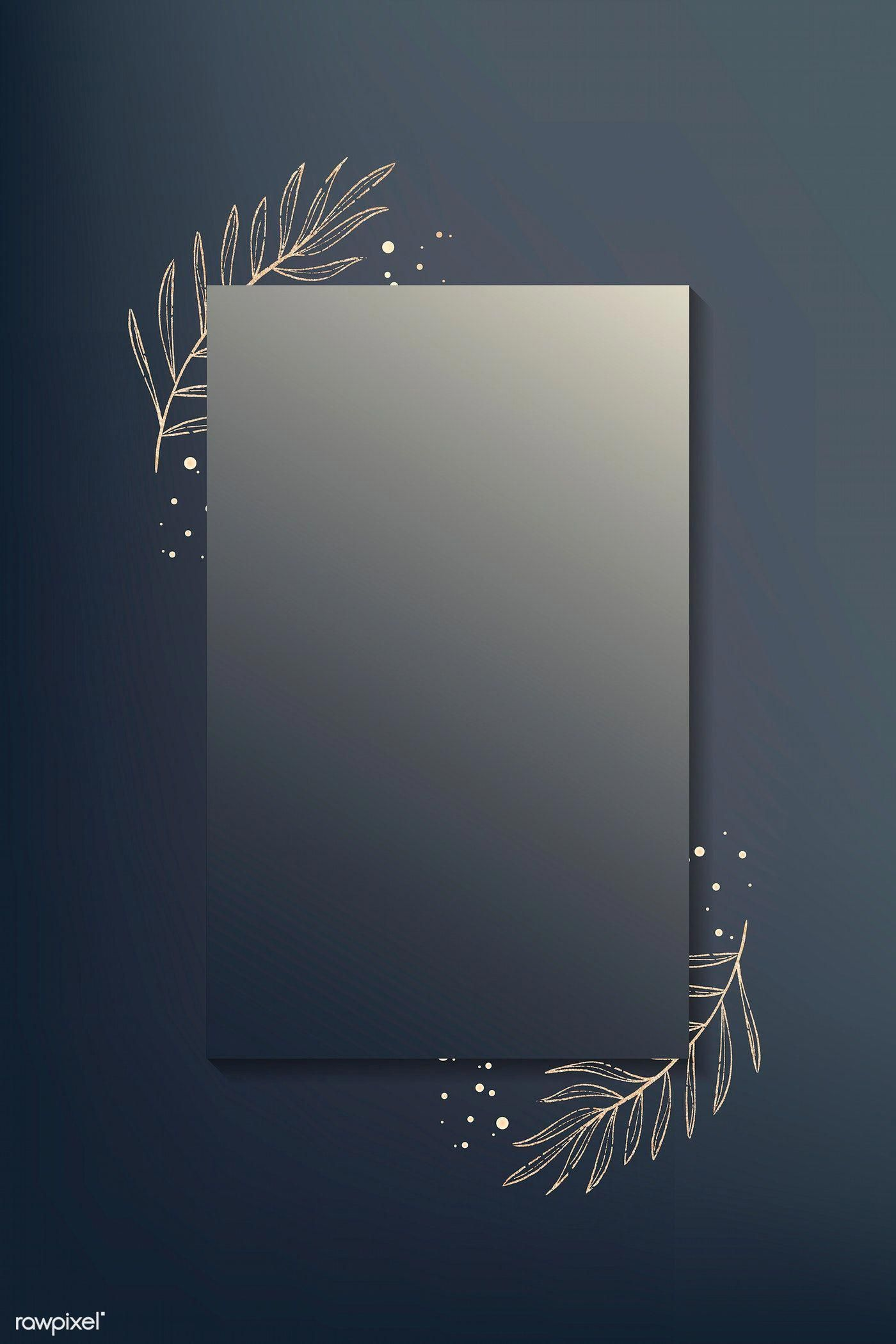 Rectangle gold leafy frame vector premium image by