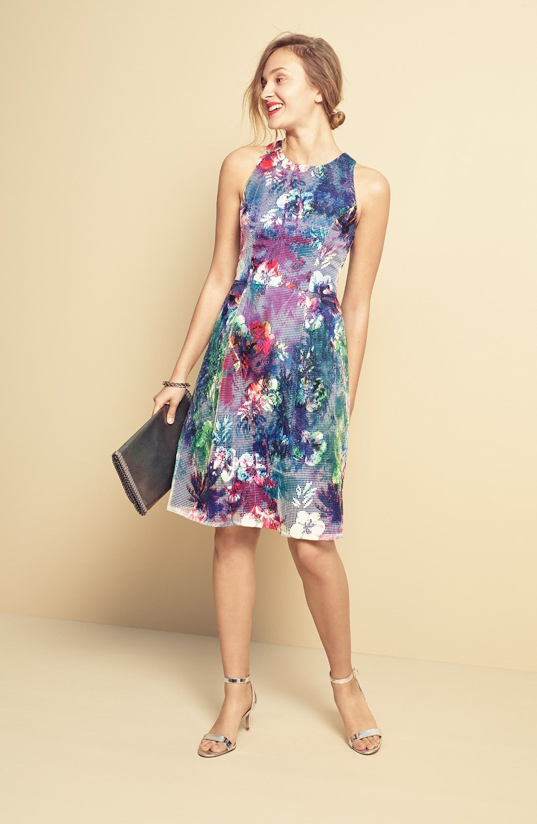 Aidan Mattox Embroidered Mesh Fit Flare Dress Products