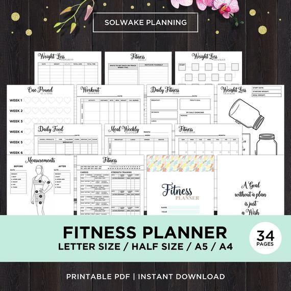 Fitness-Planer druckbare Gesundheit Planer Fitness Journal druckbare Trainingsprotokoll ...   - My H...