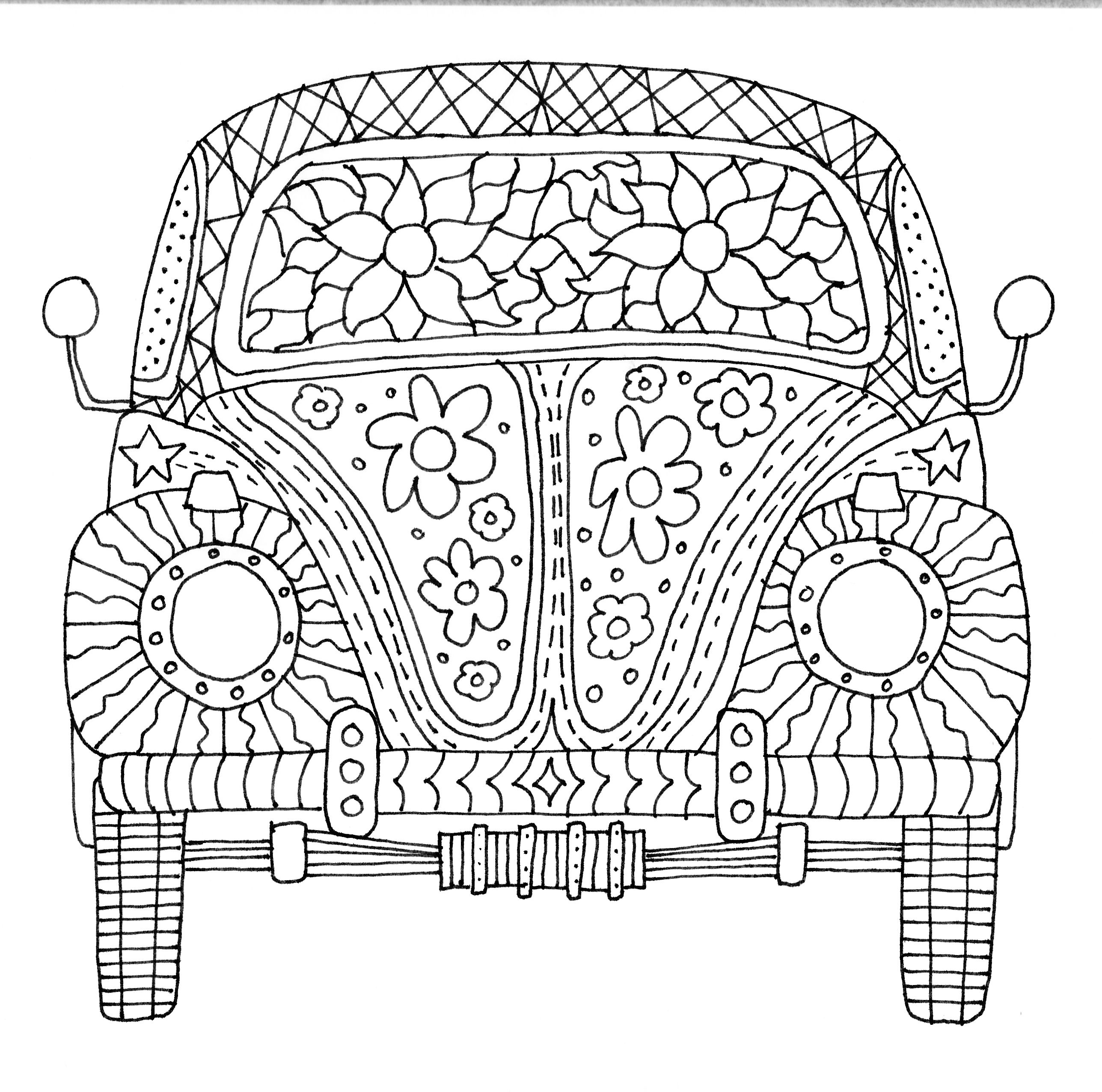 Herbie the Love Bug, Volkswagen VW Coloring Page Free