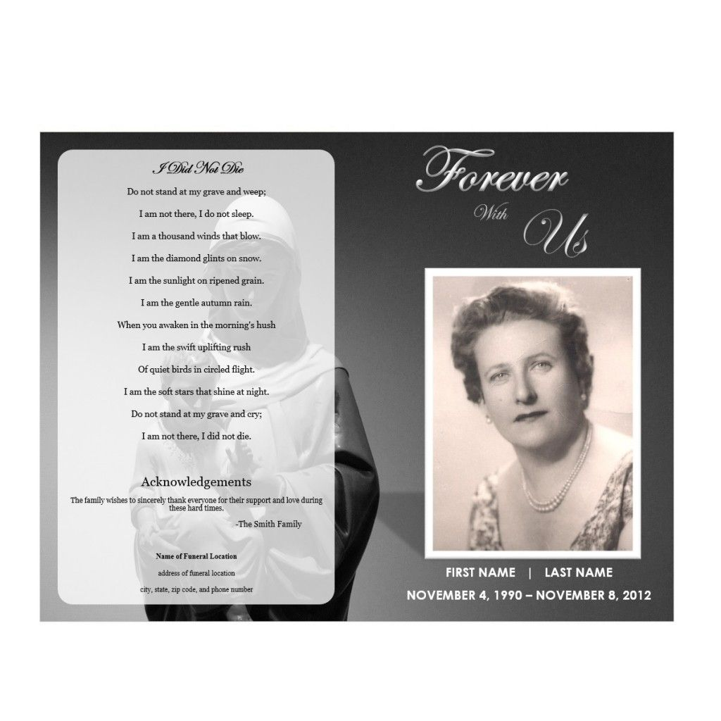 Virgin mary memorial program funeral pamphlets funeral