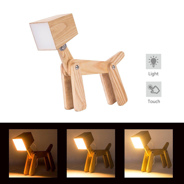 Good HROOME Modern Design Holz Schreibtischlampe Led Touch Dimmbar Verstellbar  Tiere Hund Lampe Dimmer Tischlampe Beleuchtung Für