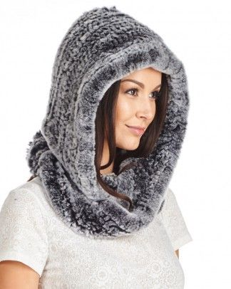 6efead794 Shop FurHatWorld for the best selection of Rabbit Fur Scarves. Buy the  Abigail Rex Rabbit Fur Infinity Hood Scarf in Black Frost by FRR with fast  same day ...