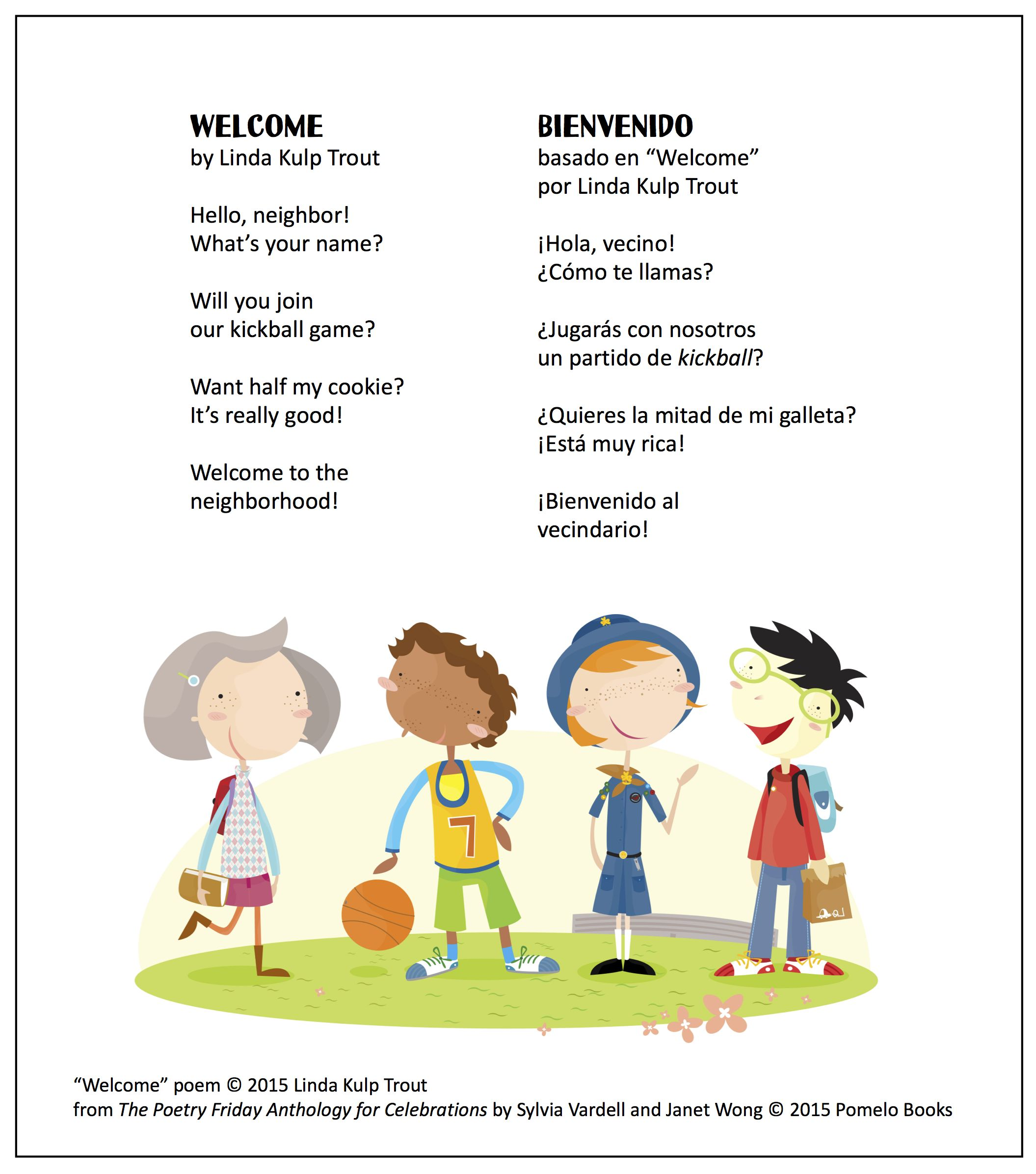 Welcome By Linda Kulp Trout For Good Neighbor Day In September From The Poetry Friday Anthology For Celebrati Math Word Walls Spanish Books Learning Spanish