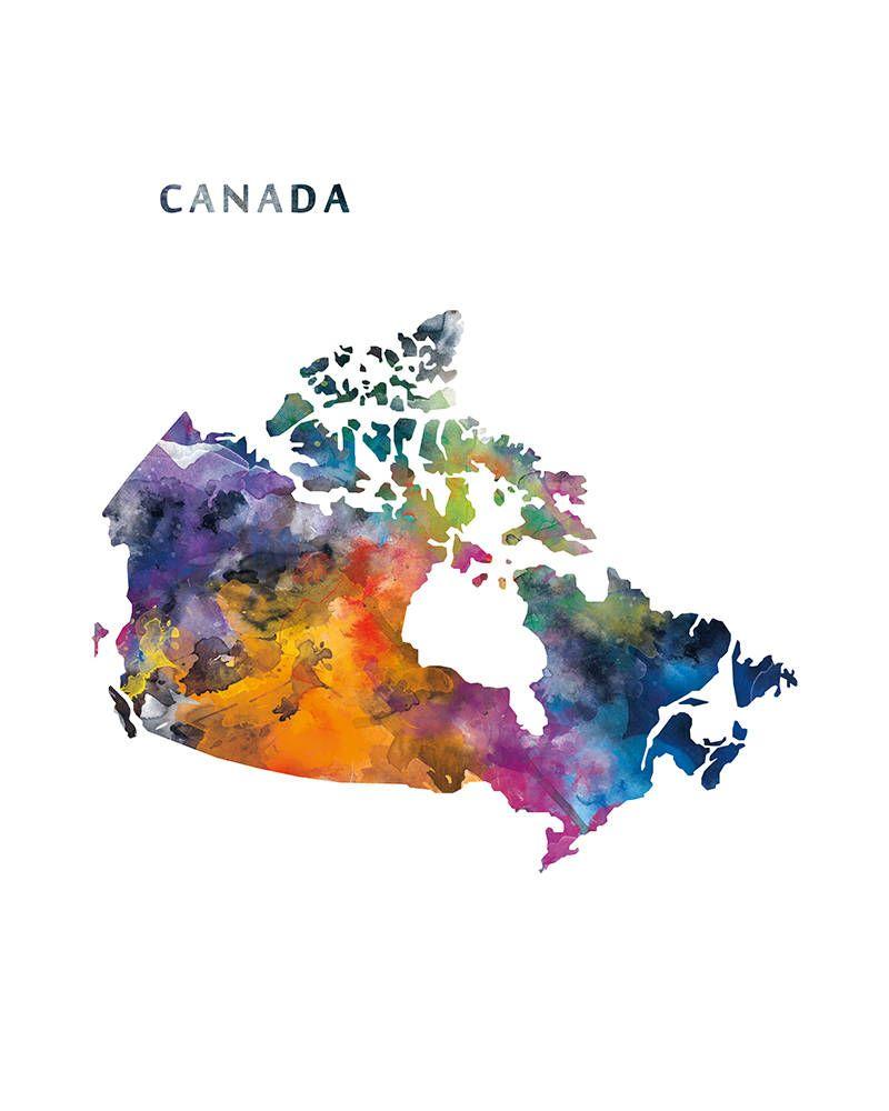 Canada Map Canada Print Canada Poster Canada Ottawa Watercolor