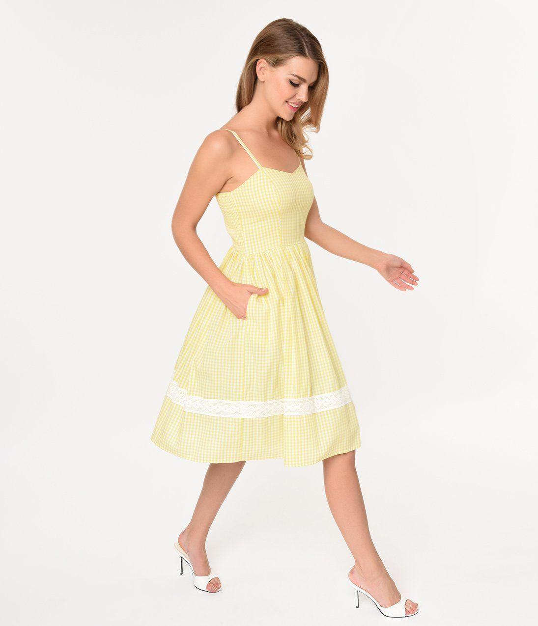 8aa14c363a8d Vintage Style Yellow & White Gingham Cotton Gail Swing Dress – Unique  Vintage
