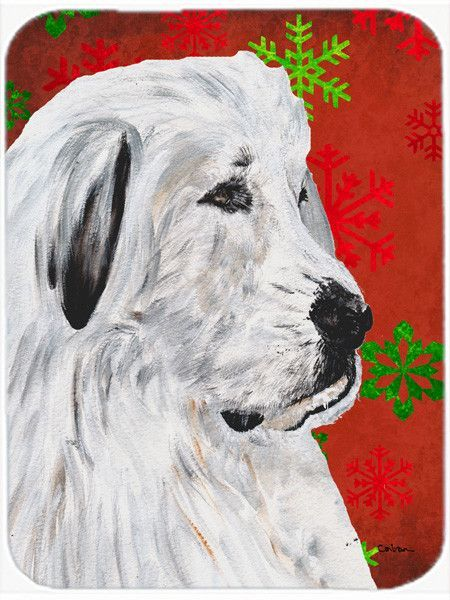 Snowflakes Great Pyrenees Glass Cutting Board