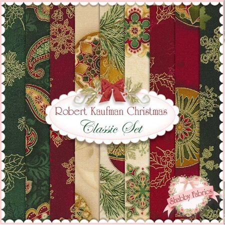"Robert Kaufman Christmas  Classic 9 FQ Set  Robert Kaufman Fabrics: This beautiful selection features Robert Kaufman Fabrics.  100% cotton.  Nine fat quarters are included, each measuring approximately 18"" x 21"".  Each fabric has metallic gold accents."
