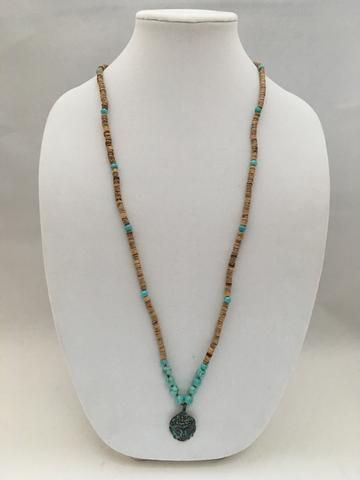 Turquoise & Coconut Seed Necklace