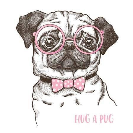 illustration of a hand drawn funny fashionable pug vector pug art pugs dog wall art pinterest