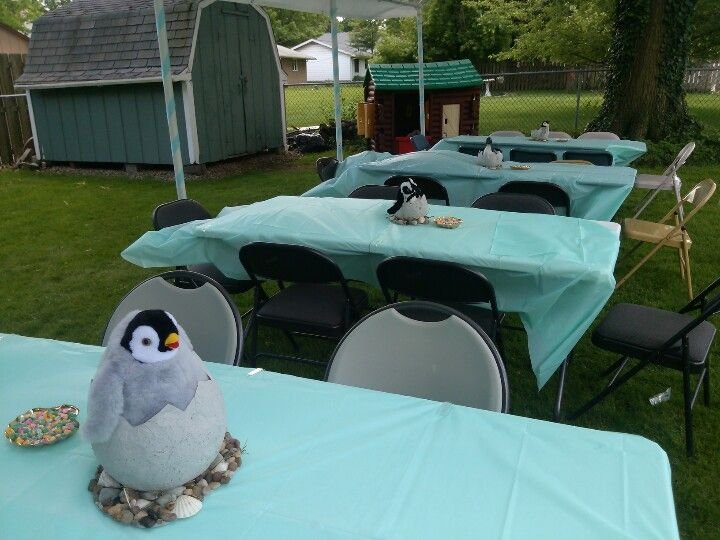Elegant Penguin Baby Shower Centerpieces