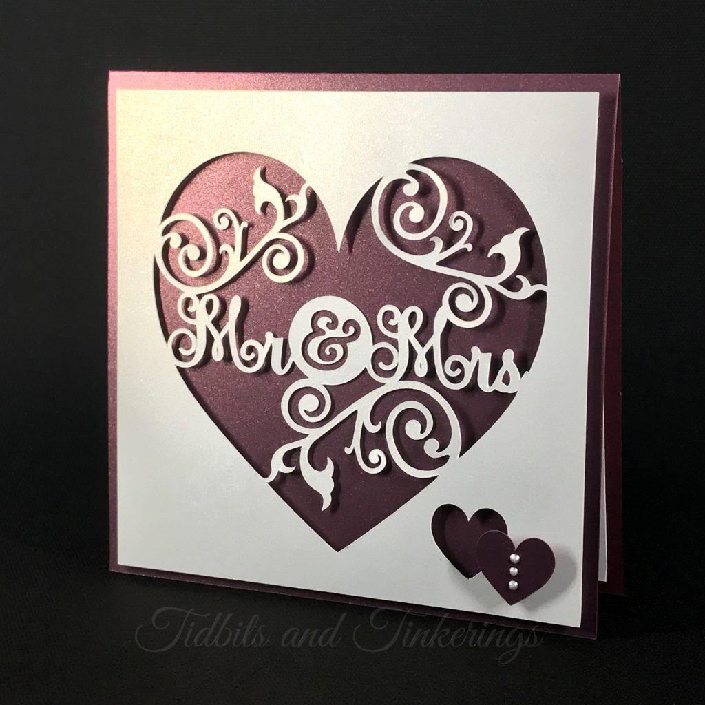 Mr. & Mrs. Heart Flourish Newlyweds Wedding Card Cricut