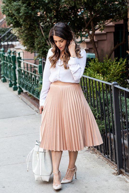 peach midi skirt; white button down professional outfit ...