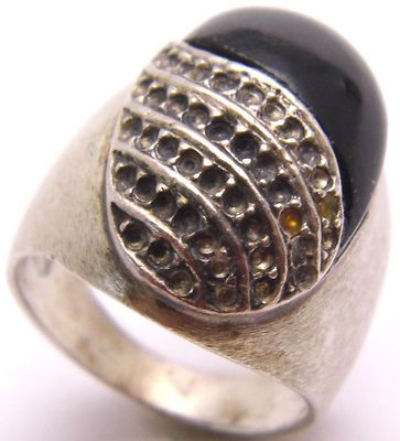 Vintage Size 6 925 Sterling Silver Ring w/ Oval Blck Onyx & Holes Design Large 9g