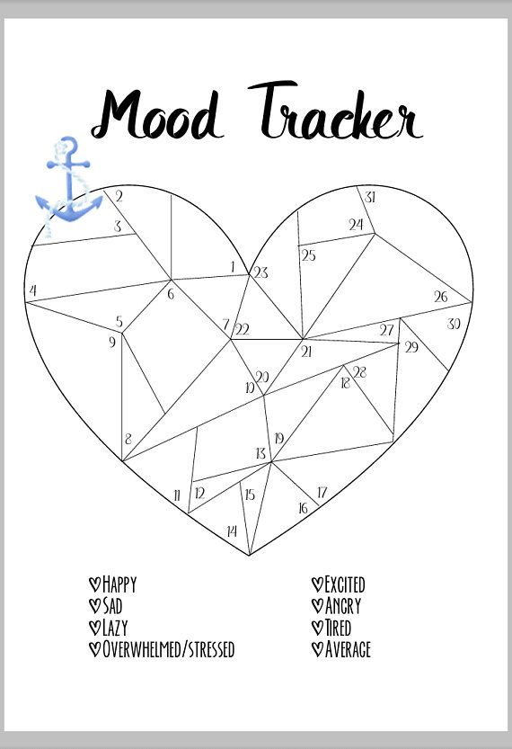 Heart Shaped Mood Tracker Printable for your dream bullet