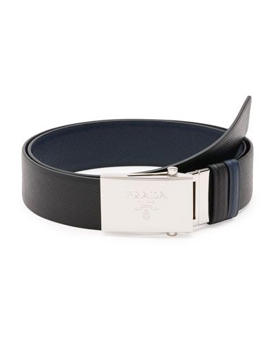 9c72545e5c4a4 N3JZV Prada Reversible Saffiano Leather Plaque Belt