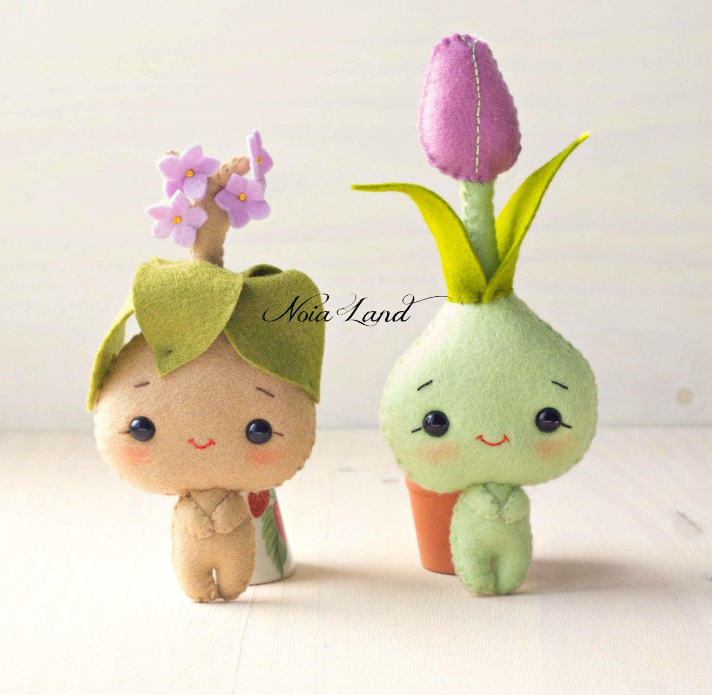 PDF Pattern. Bulb flowers: tulip and mandrake | Filzblumen, Filz und ...