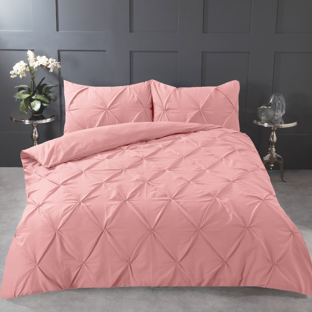Highams Diamond Pintuck Pinch Pleat Duvet Cover Set Blush Pink