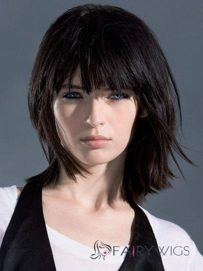Fashion Medium Straight Free Style Wig 100% Human Hair 10 Inches