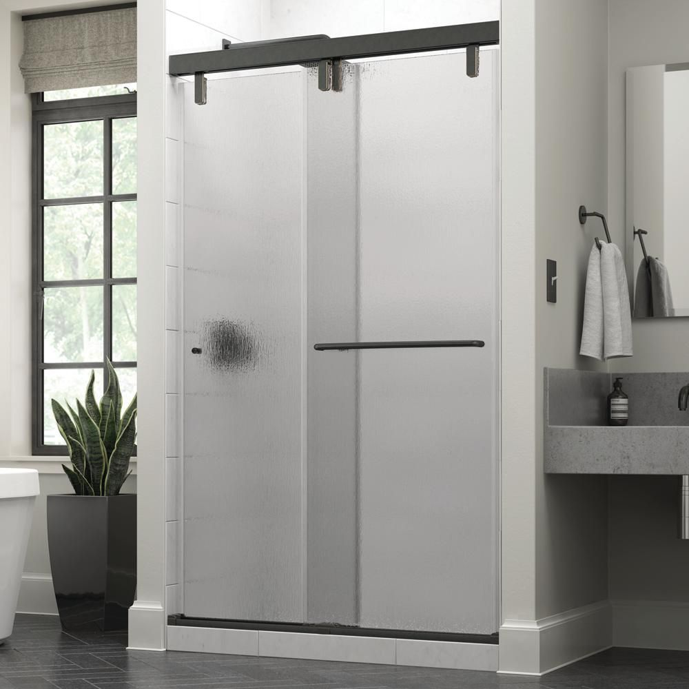 Delta Portman 48 X 71 1 2 In Frameless Mod Soft Close Sliding Shower Door In Bronze With 3 8 In 10mm Rain Glass Sd3442790 Shower Doors Frameless Sliding Shower Doors Shower Door Handles