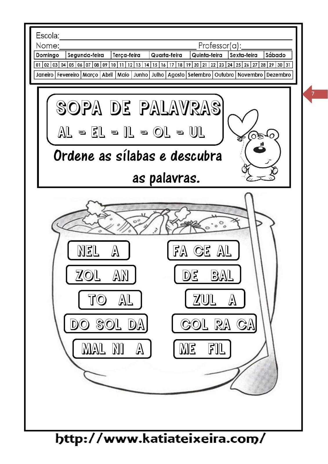 Teia Pedagogica Forme Palavras Al El Il Ol Ul Com