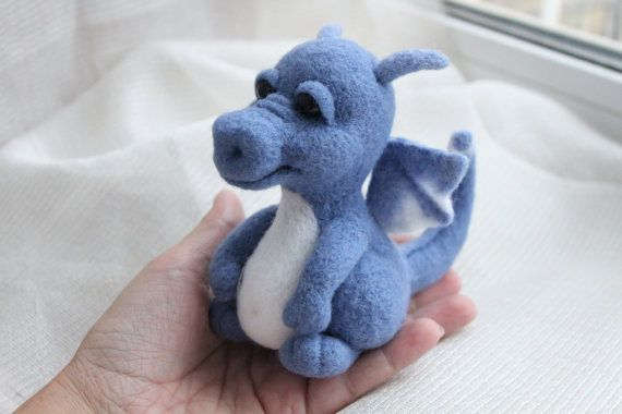 Wool Felted dragon Felt blue dragon Needle от WorkshopTatyanas #feltdragon
