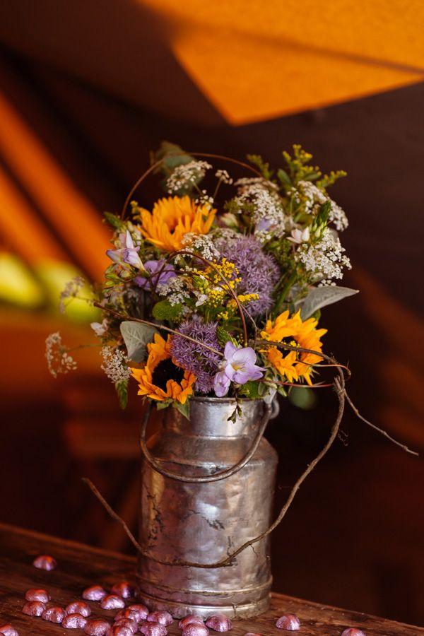 Wedding Sunflowers Purple Flowers  http://toastofleeds.com/