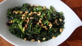 Kale with raisins, pine nuts. (optional to cook raisins in apple juice for 5 min first to rehydrate and plump up.) MUST TRY! Suppose to be good with fish and other meats.