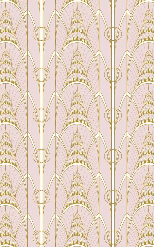 Pink Art Deco Print Wallpaper | Chrysler Building | MuralsWallpaper