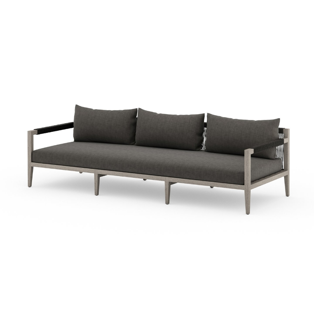 The Sherwood Outdoor 93 Sofa Weathered Grey And Charcoal From Four Hands Delivers Easy Elegance To Your Outdoor Living S Outdoor Sofa Comfortable Sofa Outdoor