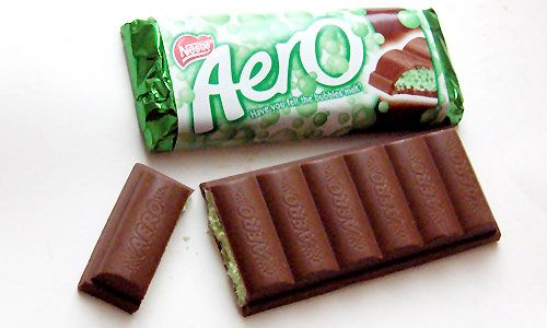 Aero: a bar of 'Bubbly', sold to the health conscious as a treat which doesn't over indulge. To others, well... It's less chocolate, for the same money? Similar to fine wine and air, mixed by slooshing over the tongue, Aero aficionados cite the oxygen-containing bubbles, as facilitator to the resulting chocolate rush. Best chocolate ever especially the mint it's very refreshing